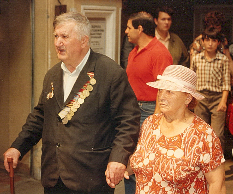 War hero and wife shopping in Gum department store. People like him saved the USSR from the Nazis. I believe 20 million Soviet people died in WWll. Hard for us in the USA to imagine. This pix was taken in 1989, so, they have probably joined their friends.